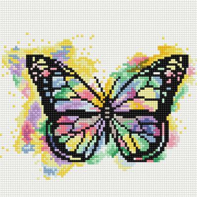 레인보우 나비 (캔버스형) 보석십자수 25x25