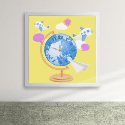 cw115-비행기타고떠나요세계여행액자벽시계_디자인액자시계