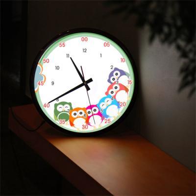 ng274-LED시계액자35R_귀여운아기부엉이캐릭터