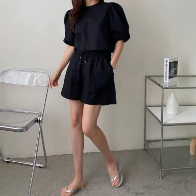 [Set] Linen Crop Puff Blouse + Shorts