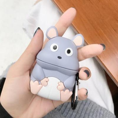 에어팟1/2 생쥐 캐릭터 실리콘케이스 키링_그레이 450