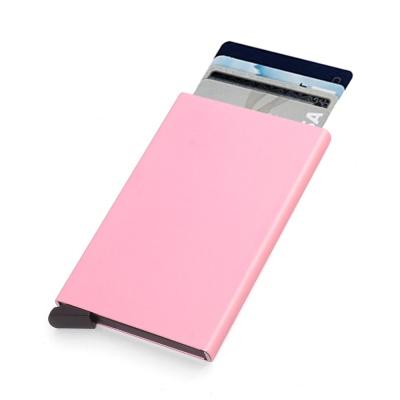 RFID차단 팝업 슬라이드 카드지갑(핑크)