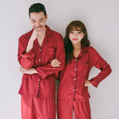 [쿠비카]네이비파이핑 스탠다드 투피스 커플잠옷WM152