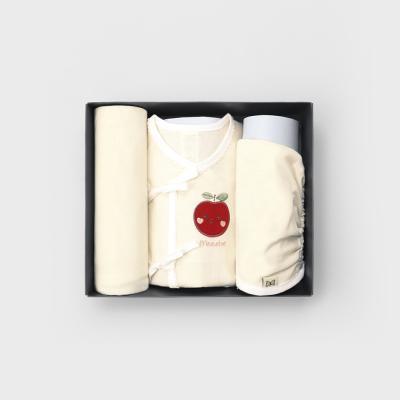메르베 사과해 여름출산선물세트(저고리+속싸개+모자)