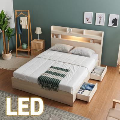 홈쇼핑 LED/서랍 침대 Q (양면스프링매트) KC200