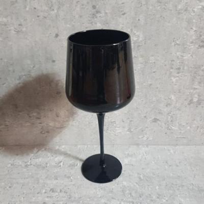 레트로 블랙 시티모던 버건디 와인잔 1개