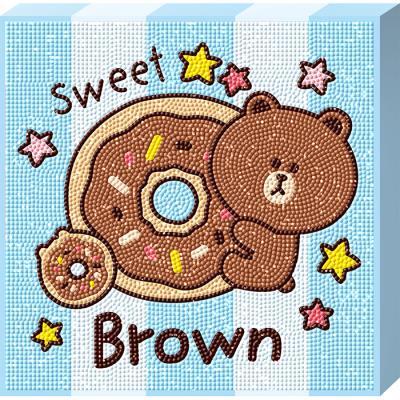 라인프렌즈 도넛 브라운 (캔버스) 보석십자수 25x25