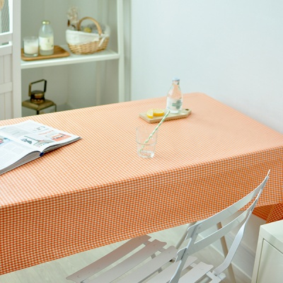 미니미체크 방수식탁보(오렌지 2인~10인용)