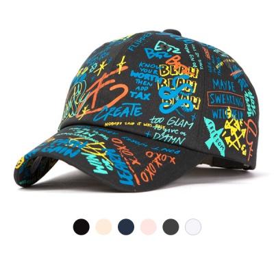 [디꾸보]레터링 컬러 스케치 볼캡 모자S-M-L AL153