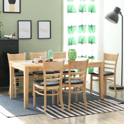 [리비니아]제이미내츄럴 캘빈 6인 식탁세트(블랙좌판)
