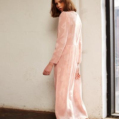 시스루 레이스 롱 드레스 핑크