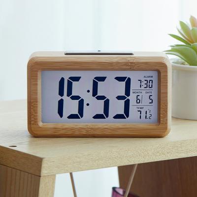 우드 전자 탁상시계 무소음 알람시계 건전지사용