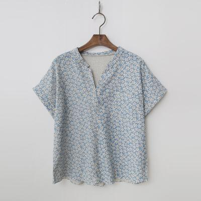 Linen Cotton Floral Blouse