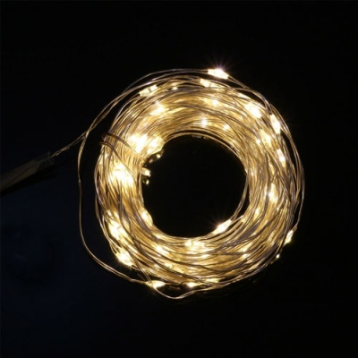 USB연결형 100구 LED 와이어 전구(10M) (웜색)