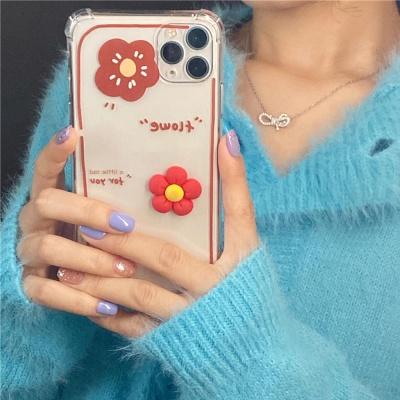아이폰12 11pro max xs 8 레드 꽃 데코덴 투명 케이스