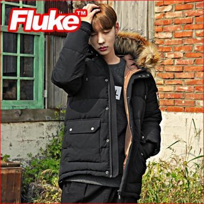 [플루크 패딩] 로체샤르 헤비 라쿤 야상 패딩 점퍼 블랙 FPJ1504-BLACK FLUKE 15FW