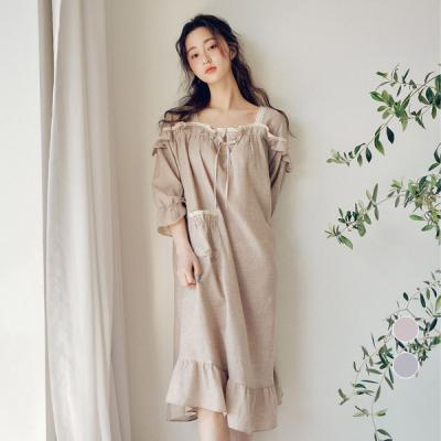 [쿠비카]7부소매 선염면 원피스 여성잠옷 W422