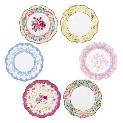 [TT] 티파티 꽃무늬 종이 접시 12개 - 빈티지