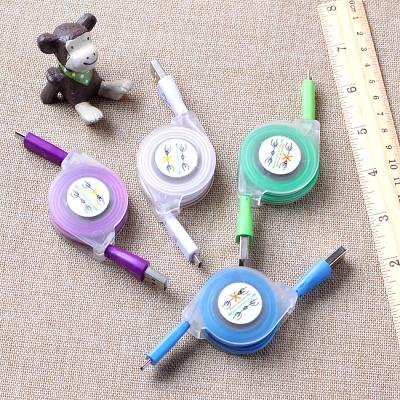 마이크로 5핀 USB 발광 릴케이블(90cm)