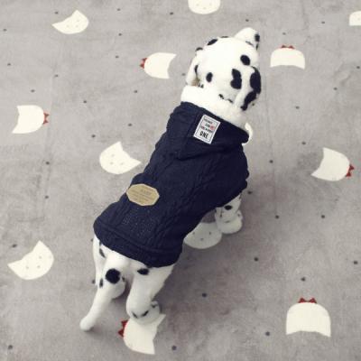 [펫딘]니트 꽈배기 기모안감 강아지옷 조끼 Navy E006