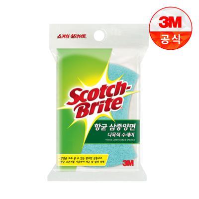 [3M]삼중양면 다목적 수세미 1입(찌든때세척용)