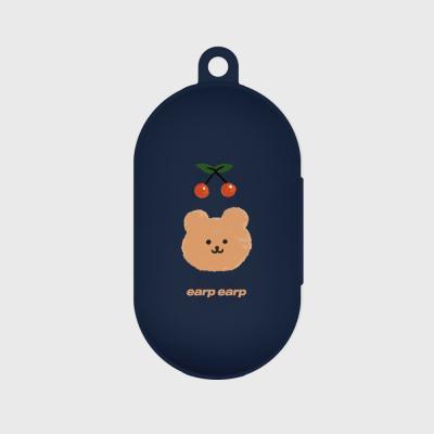 Dot cherry bear-navy(buds jelly case)