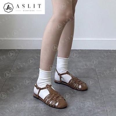 [애슬릿]여성 꼬임 T 스트랩 슬링백 플랫 여름 샌들