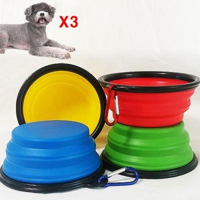 wk 접이식 식기(고리형) 강아지 고양이 그릇 랜덤 X3