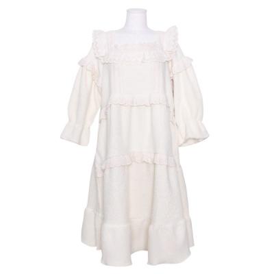 [쿠비카]레이스 스퀘어넥 양털 원피스 여성잠옷 W829