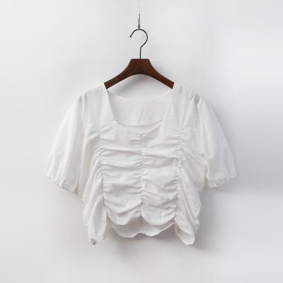 Linen Cotton Shirring Crop Blouse