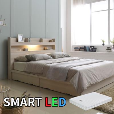 스마트 LED 서랍 침대 퀸(라텍스독립매트) KC169Q