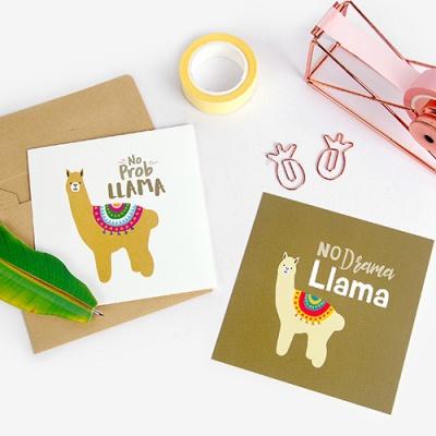 [인디고샵] 브라운 헬로 라마 카드