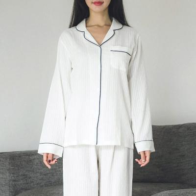 [쿠비카]파이핑 카라형 투피스 여성잠옷 W229