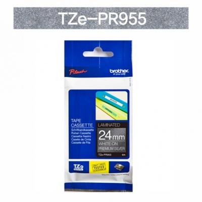 브라더정품 라벨테이프 TZe-PR955(24mm x 4M) (프리미엄실버바탕/하얀색글씨)