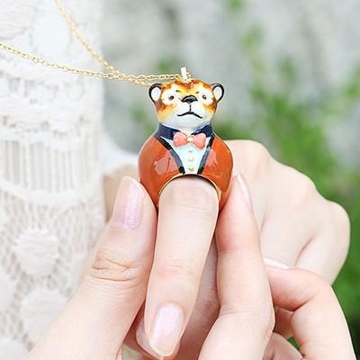 [러쉬룸] [직수입/Mary Lou] animal ring necklace (dog tiger lion)