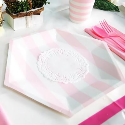 파티접시 25cm 육각 줄무늬 핑크 6입