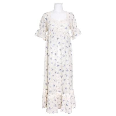 [쿠비카]뜨개 레이스 넥 라인  원피스 여성잠옷 W772