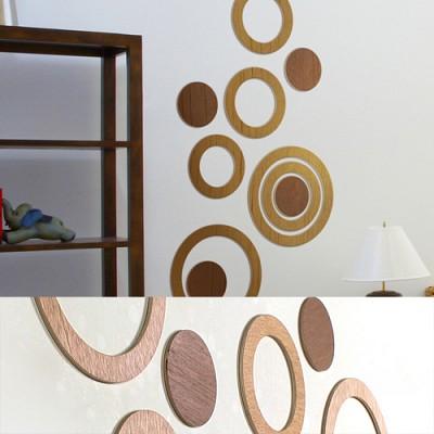 [우드스티커] 우든서클 (컬러완제품) - 입체우드 월데코  포인트 집꾸미기 벽장식