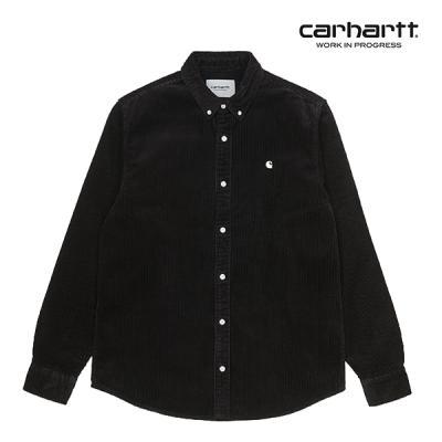 칼하트WIP L/S Madison Cord Shirt (Black / Wax)