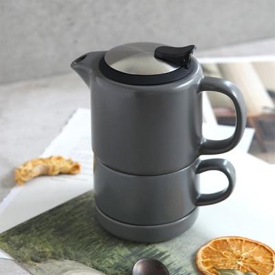 [N365] 푸코 도자기 티팟 n 컵 세트 GR