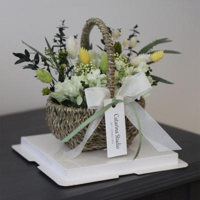 시들지않는 프리저브드 그린스템수국 꽃바구니 선물