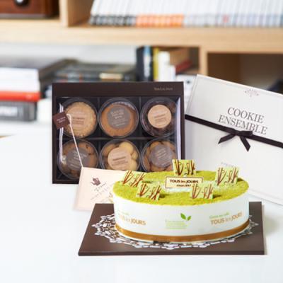 뚜레쥬르 녹차케익2호+쿠키앙상블(꽃배달,케익배달,케익,생일선물)