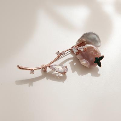 바이데이지 0Bh0249 공작석 나비 담수진주 새싹브로치