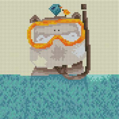 스노쿨 하마 (캔버스형) 보석십자수 25x25