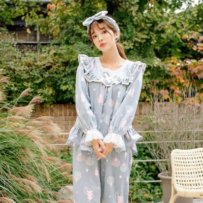 [쿠비카]양면 극세사 투피스 여성잠옷 W529