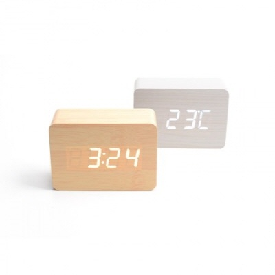 플라이토 LED 우드 무소음 탁상 알람 시계 (옵션: 메이플, 크림화이트 택1)