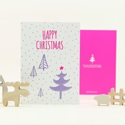 하베스터 크리스마스 카드 - 네온 스노잉