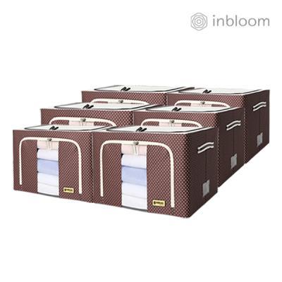 인블룸 6개세트 도트 리빙박스 100L 브라운