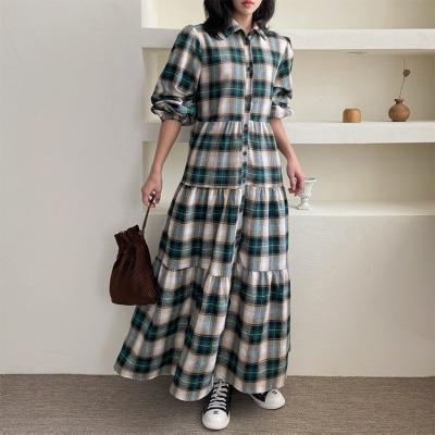 Check Puff Shirts Cancan Long Dress
