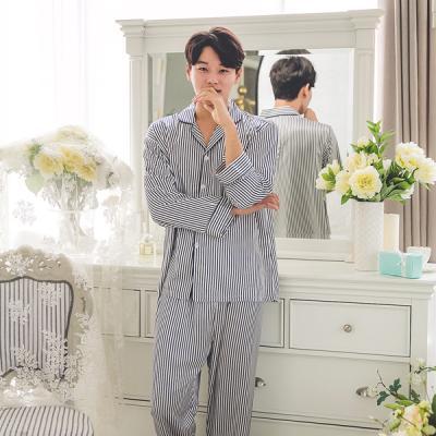 [쿠비카]고광택 시크한 스트라이프 남성잠옷 M046